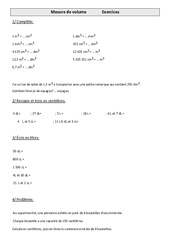 Mesures de volume – Cm1 – Exercices – Mesures – Cycle 3