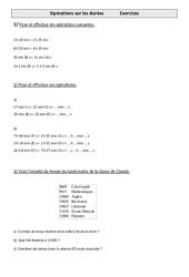 Opérations sur les durées - Cm1 - Exercices - Mesures - Cycle 3