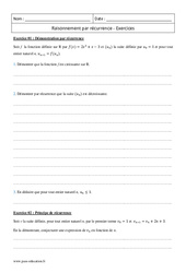 Raisonnement par récurrence – Terminale – Exercices corrigés