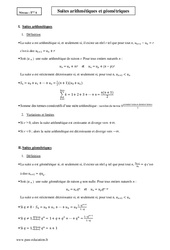 Suites arithmétiques et géométriques – Terminale – Cours