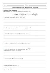 Suites géométriques et arithmétiques – Terminale – Exercices corrigés