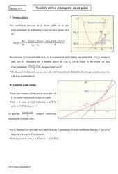 Nombre dérivé et tangente en un point – Terminale – Cours
