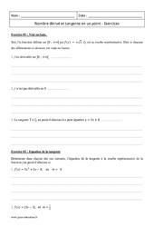 Nombre dérivé et tangente en un point – Terminale – Exercices corrigés