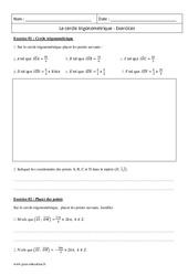 Cercle trigonométrique – Terminale – exercices corrigés – Terminale