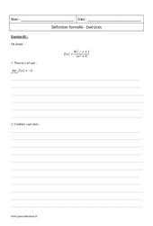 Définition formelle – Terminale – Exercices corrigés
