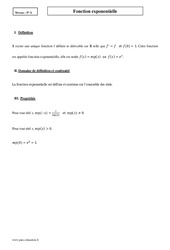 Fonction exponentielle – Terminale – Cours