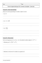 Forme trigonométrique – Terminale – Exercices corrigés