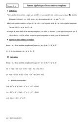 Forme algébrique – Terminale – Cours