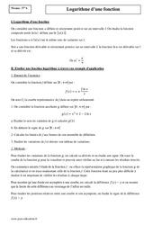 Logarithme d'une fonction – Terminale – Cours
