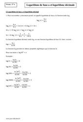 Logarithme de base a et logarithme décimale – Terminale – Cours