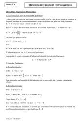 Résolution –  Equations – Inéquations – Terminale – Cours