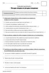 Phrase simple – Phrase complexe – Cm1 – Bilan à imprimer