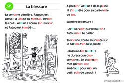 La blessure – CP – Lecture compréhension – Histoire illustrée – Niveau 2