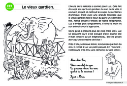 Le vieux gardien – CE1 – Lecture compréhension – Histoire illustrée – Niveau 2
