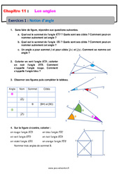 Notion d'angle – 6ème – Révisions – Exercices avec correction