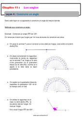 Construire un angle - 6ème - Cours