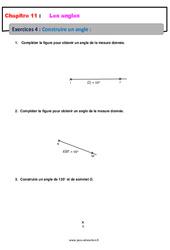 Construire un angle - 6ème - Révisions - Exercices avec correction