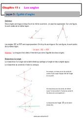 Égalité d'angles – 6ème – Cours