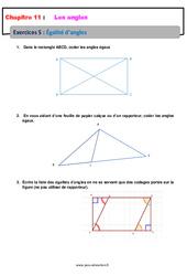 Égalité d'angles - 6ème - Révisions - Exercices avec correction