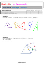 Les triangles particuliers – 6ème – Evaluation avec la correction sur les figures usuelles
