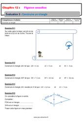 Construire un triangle – 6ème – Evaluation avec la correction sur les figures usuelles