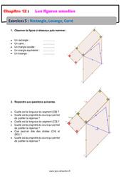 Rectangle Losange Carré – 6ème – Révisions – Exercices avec correction sur les figures usuelles