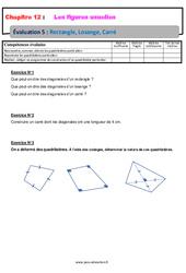 Rectangle Losange Carré – 6ème – Evaluation avec la correction sur les figures usuelles