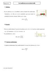 Loi uniforme sur un intervalle – Terminale – Cours