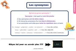 Leçon, trace écrite sur les synonymes au Ce2