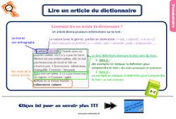 Leçon, trace écrite sur lire un article de dictionnaire au Ce2