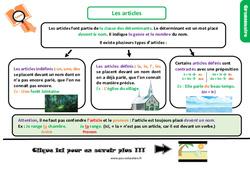 Leçon, trace écrite sur les articles – Cm1