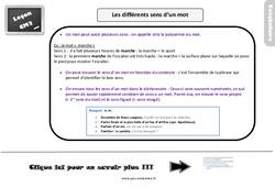Leçon, trace écrite sur les différents sens d'un mot - Cm2