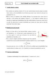 Loi à densité sur un intervalle - Terminale - Cours