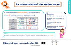Leçon, trace écrite sur le passé composé des verbes en -er au Ce1
