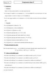 Congruences dans Z – Terminale – Cours
