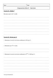 Congruences dans Z – Terminale – Exercices à imprimer