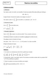 Matrices inversibles – Terminale – Cours