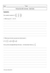 Puissances de matrices – Terminale – Exercices à imprimer