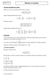 Matrices et systèmes – Terminale – Cours