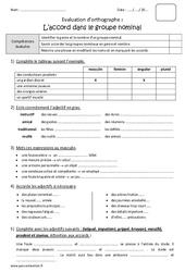 Accords dans le groupe nominal GN - Cm2 - Bilan à imprimer