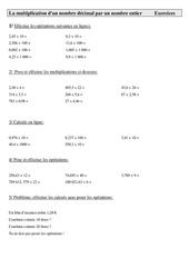 Mathématiques- Exercices calcul cm1-cycle 3: La multiplication d'un nombre décimal par un nombre entier