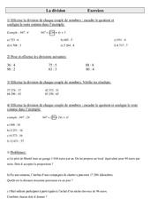 Division - Cm1 - Exercices - Calculs - Mathématiques - Cycle 3