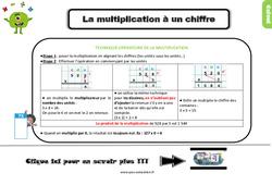 Leçon, trace écrite sur la multiplication à un chiffre au Ce2