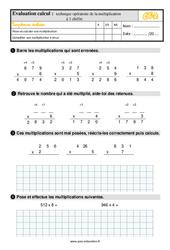 Évaluation, bilan sur la technique opératoire de la multiplication à 1 chiffre au Ce2 avec la correction