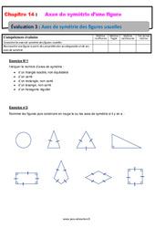 Axes de symétrie des figures usuelles – 6ème – Evaluation avec la correction