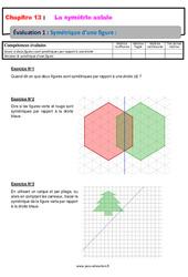 Symétrique d'une figure – 6ème – Evaluation avec la correction sur la symétrie axiale