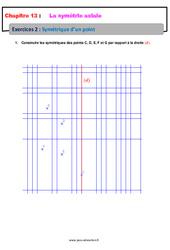 Symétrique d'un point – 6ème – Révisions – Exercices avec correction sur la symétrie axiale