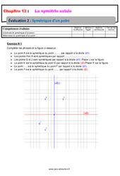 Symétrique d'un point – 6ème – Evaluation avec la correction sur la symétrie axiale