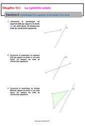 Symétrique d'un segment, d'une droite, d'un cercle – 6ème – Révisions – Exercices avec correction sur la symétrie axiale