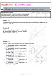 Symétrique d'un segment, d'une droite, d'un cercle – 6ème – Evaluation avec la correction sur la symétrie axiale